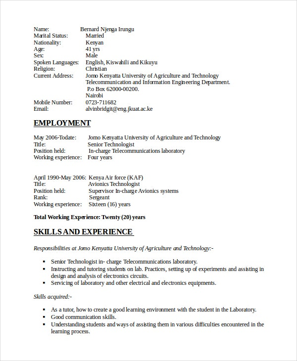 electrical technician resume template inspector electronic engineer engineering format doc