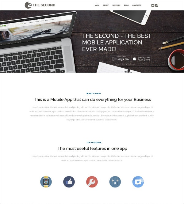 Mobile & Software Applications WordPress Website Theme for Business $75