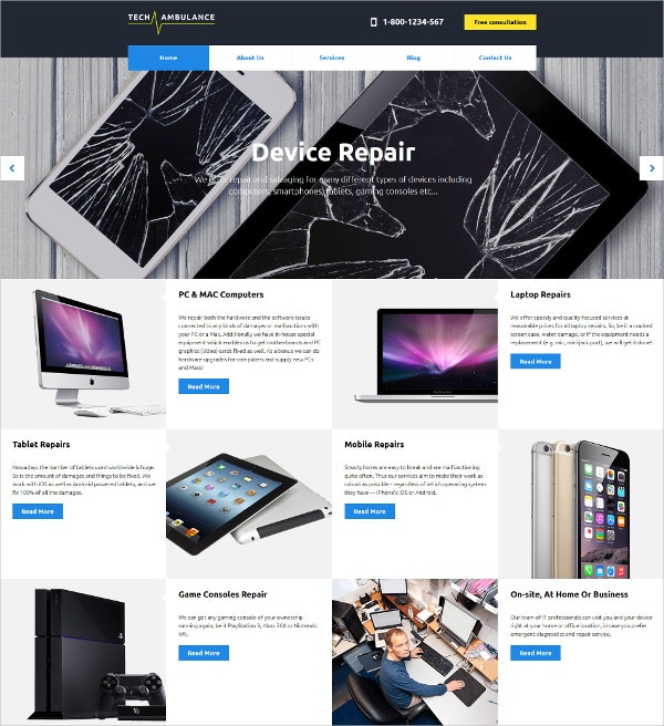 Mobile Device Repair Website Template $75