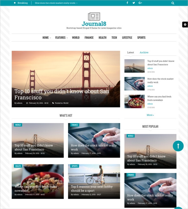 Mobile Drupal Website Theme for Journal & Magazine $48