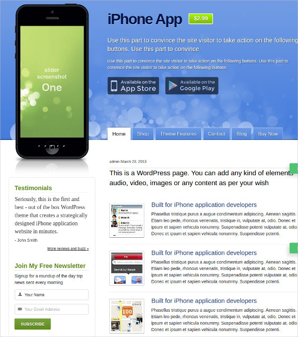 mobile iphone app wordpress website theme1
