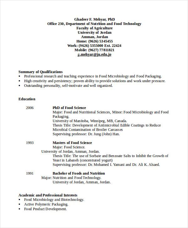 resume of food technologist