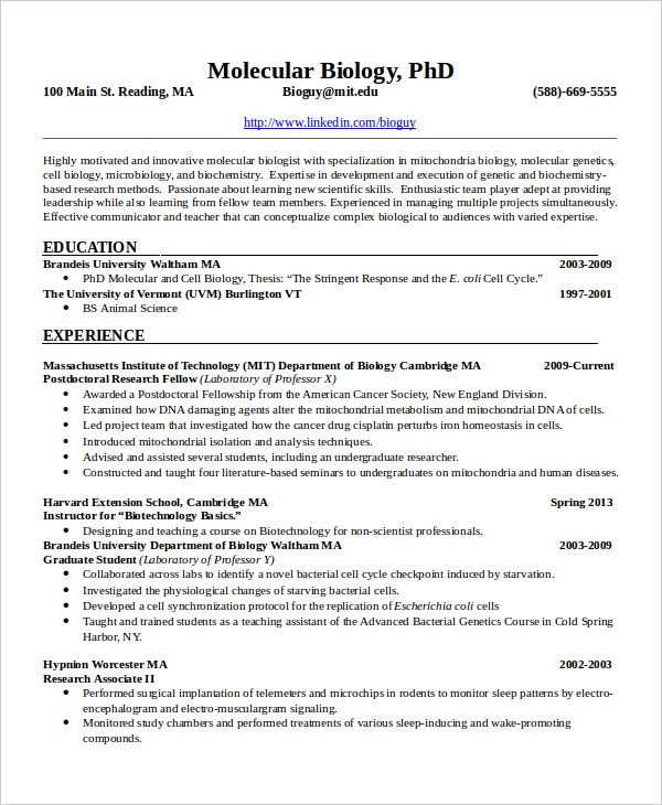 Microbiologist Resume Template - 5+ Free Word, Pdf Document