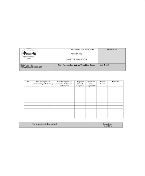 Corrective Action Tracking Template