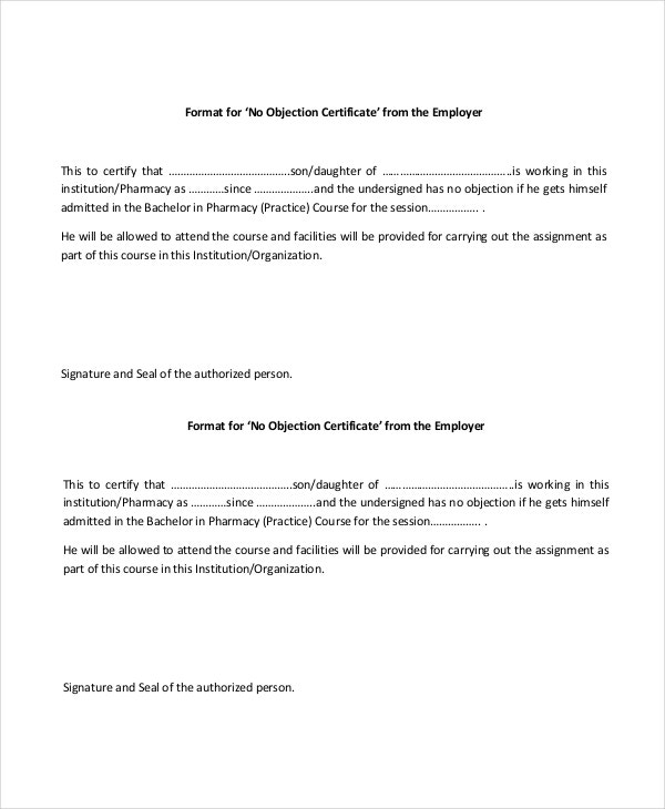 Employer No Objection Certificate  No Objection Letter Format For Employee