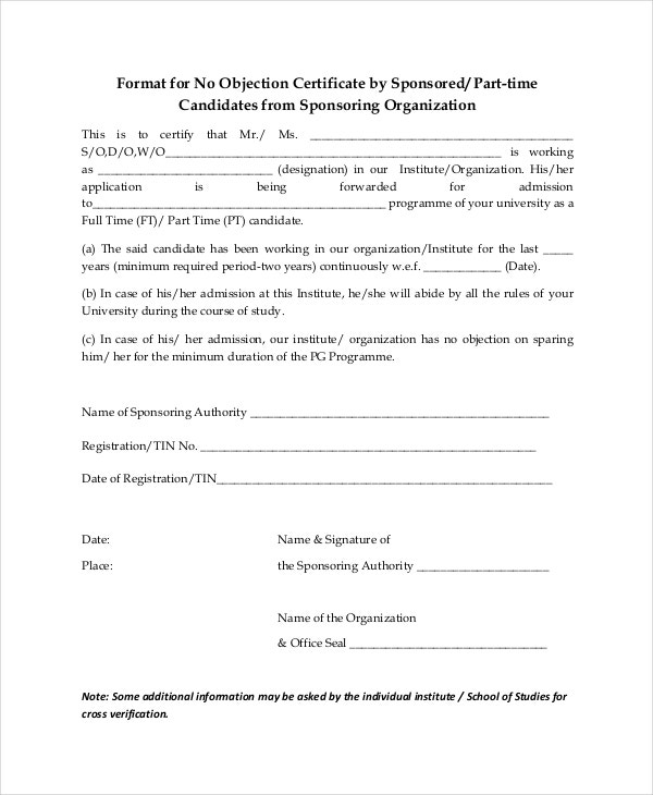 No Objection Certificate Template   Free Word Pdf Document