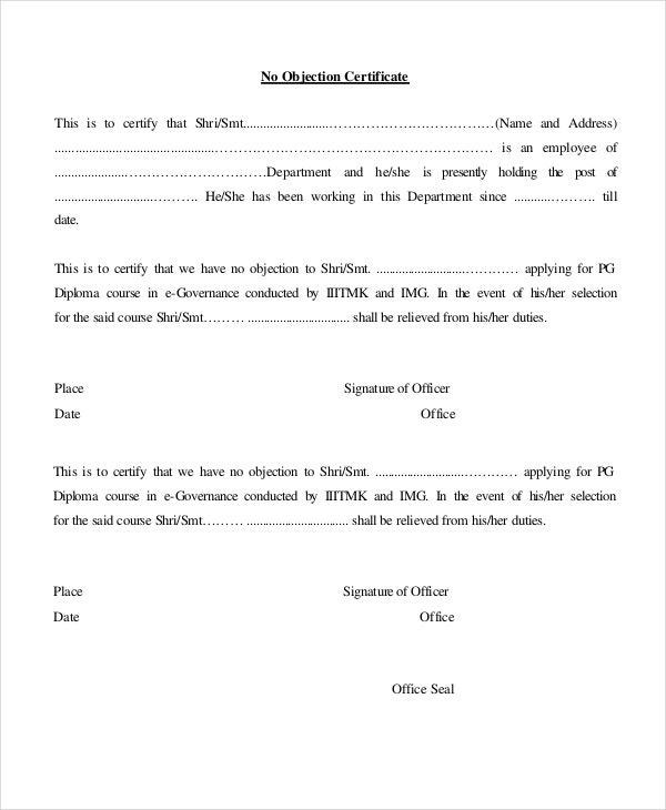 No Objection Certificate Template 8 Free Word PDF Document
