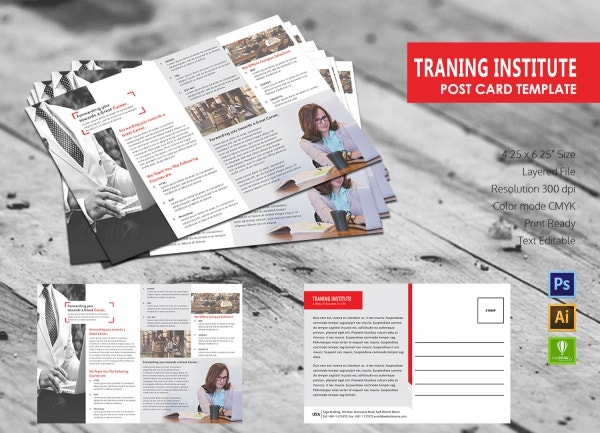 Training Institute Postcard Template