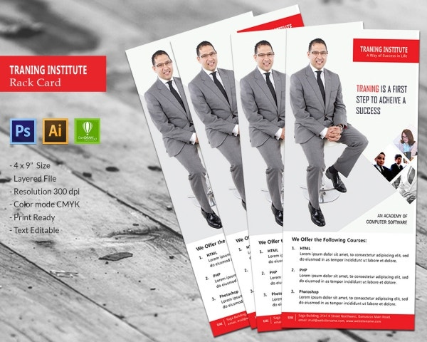 Training Institute Rack Card Template
