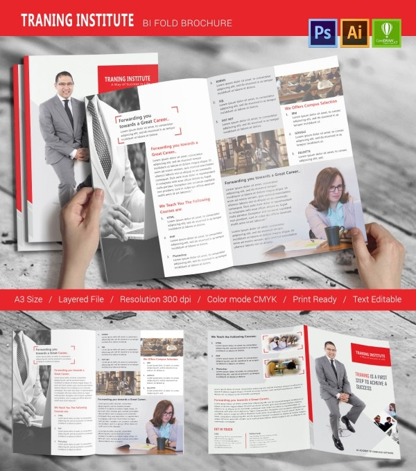 Training template 15 psd eps ai cdr format download for Brochure design for training institute