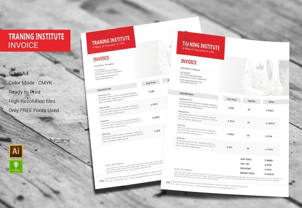 Training Institute Invoice Design