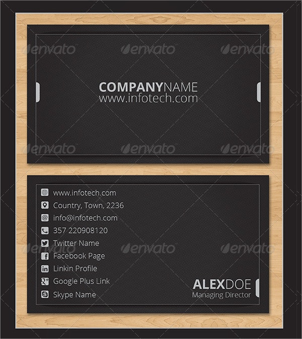 info tech business card template