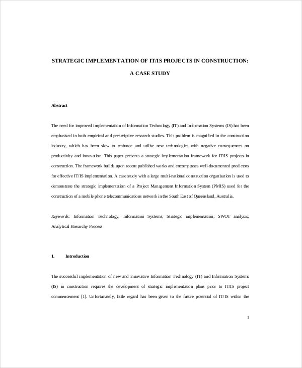 project implementation of stratagies