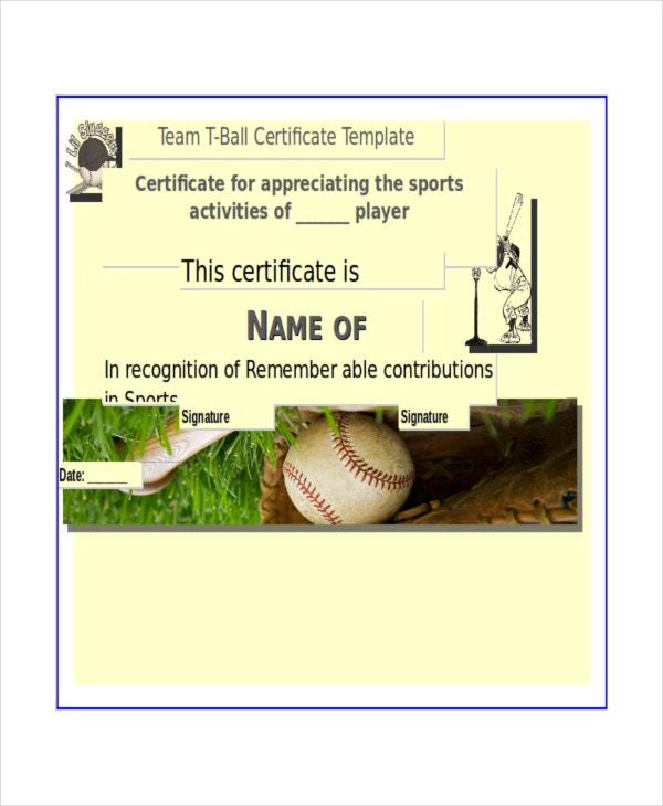 High Quality Team T Ball Certificate Template