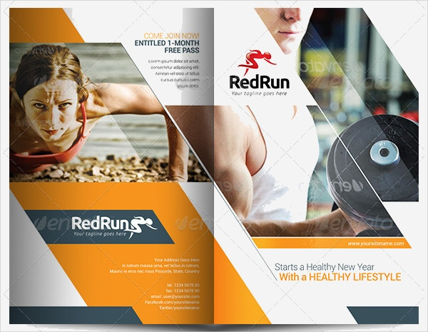 Sports  Fitness Brochure Templates  Free Psd Ai Vector Eps