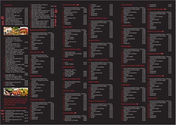 Chineese Takeaway Menu Template