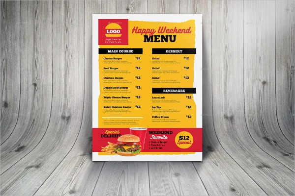 Burger Menu Takeaway Template