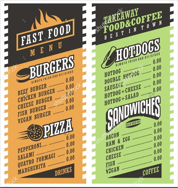 Fastfood Takeaway Menu Template