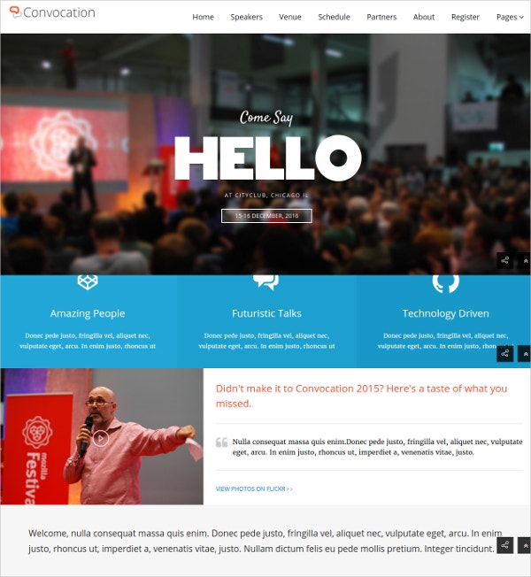 Modern Event & Conference WordPress Theme $49