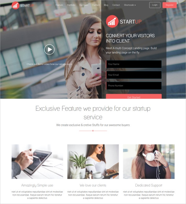 Startup Company & Business WordPress Theme $49
