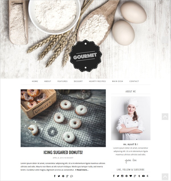 Minimal Cooking WordPress Theme $45