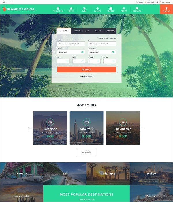 Vacation Travel WordPress Website Template $75