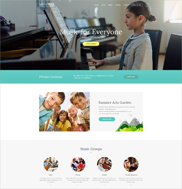 Music School & Studio WordPress Theme $49