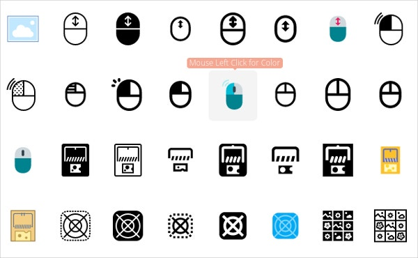 set of black white mouse icon