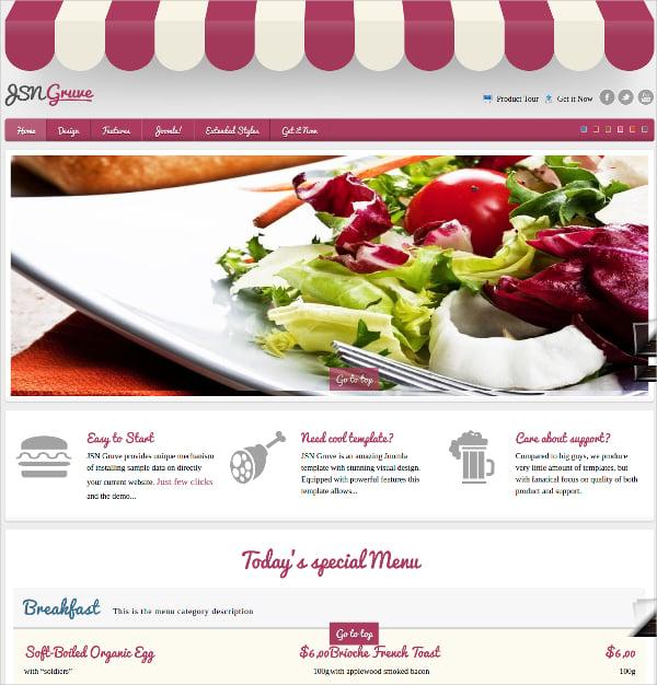 Responsive Joomla Restaurant Template $48