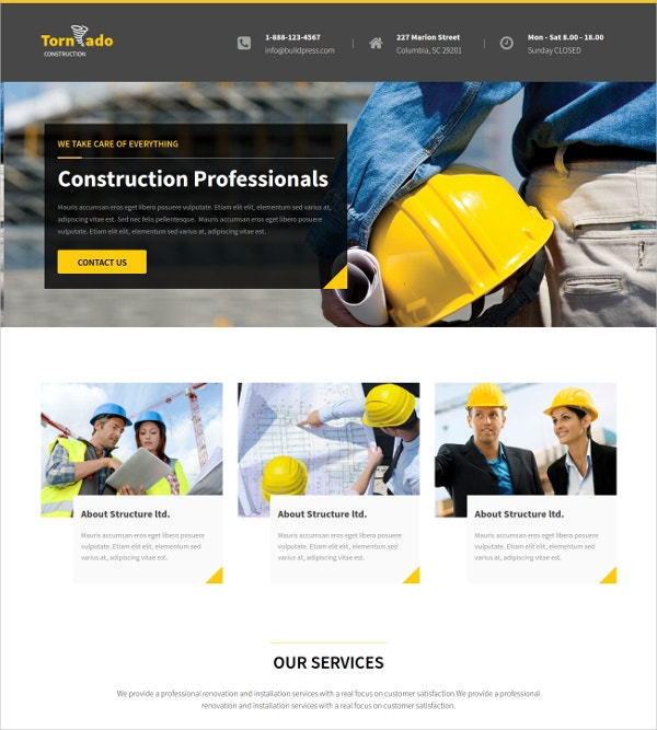 Multiple Corporate Construction HTML5 Theme $17