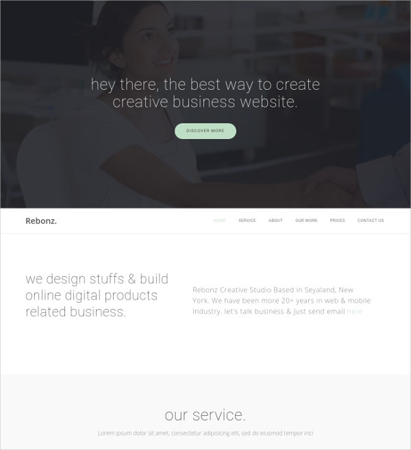 One Page HTML5 Business Template $10