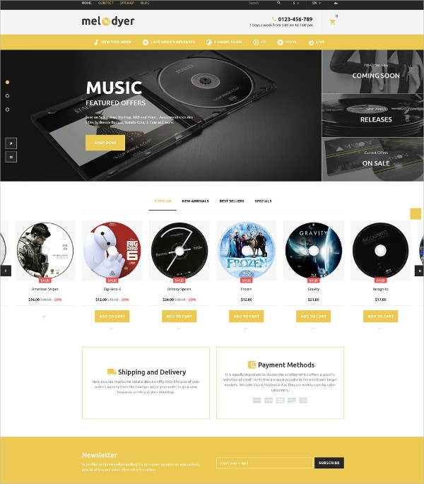 Audio & Music Store HTMML5 PrestaShop Theme $139