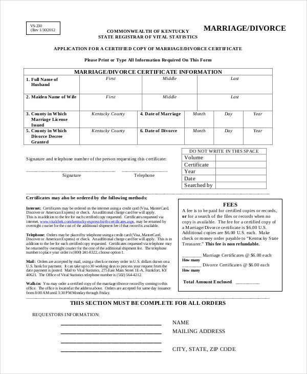application for a marriage divorce certificate template