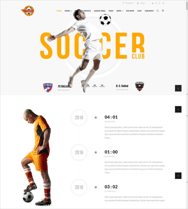 Soccer & Sports Club WordPess HTML5 Theme $59