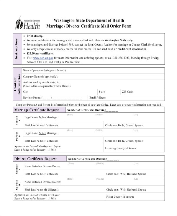 divorce certificate mail order form