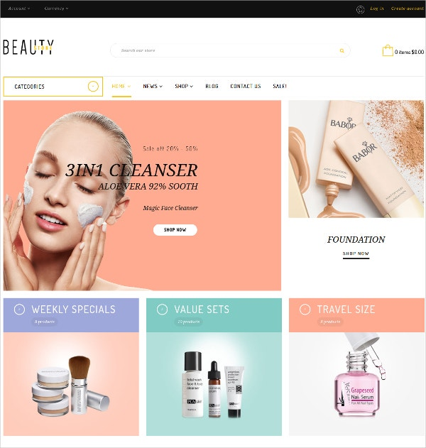 Beauty Cosmetic HTML5 Shopify Theme $65