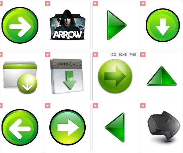 colorful arrow icon set