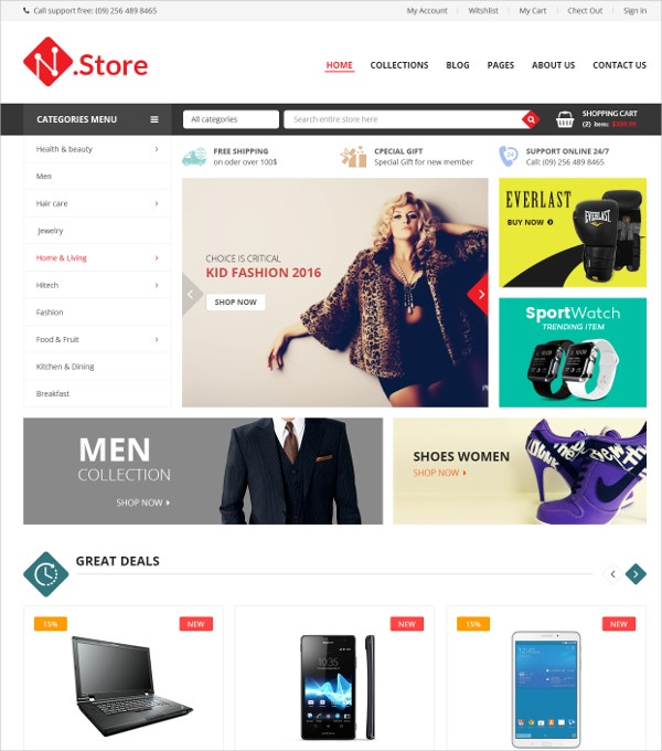 Responsive Clothes HTML5 Magento Theme $84