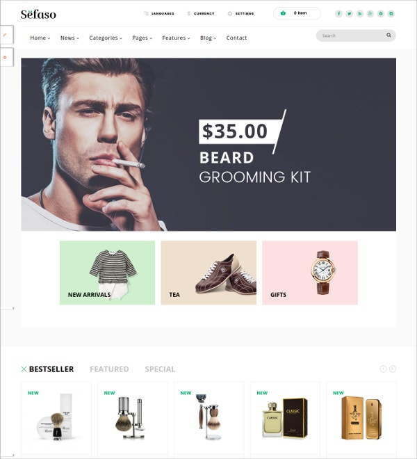 Multipurpose Fashion HTML5 Prestashop Theme $55