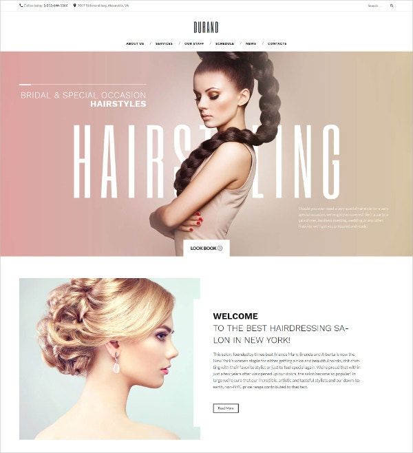 Hair Salon WordPress HTML5 Theme $75