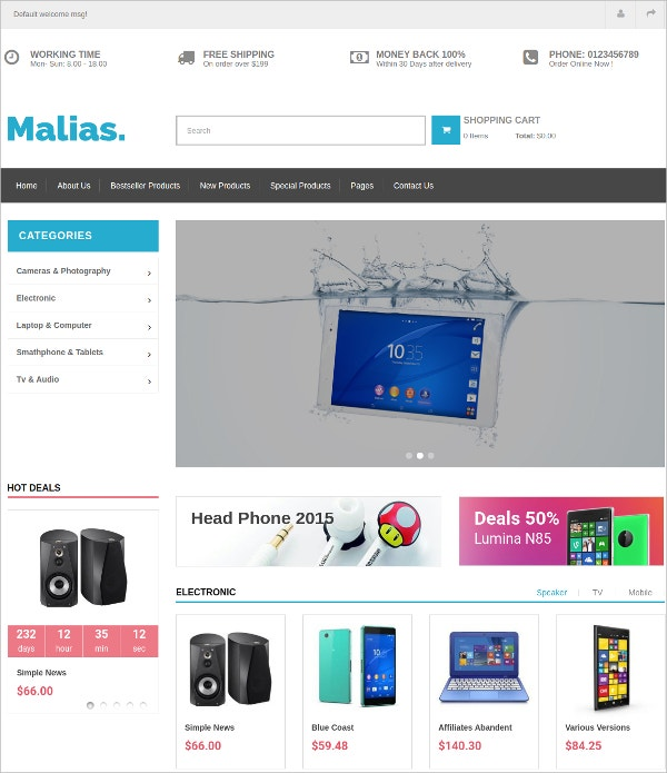HTML5 Electronics, Fashion Clothes eCommerce Theme $48