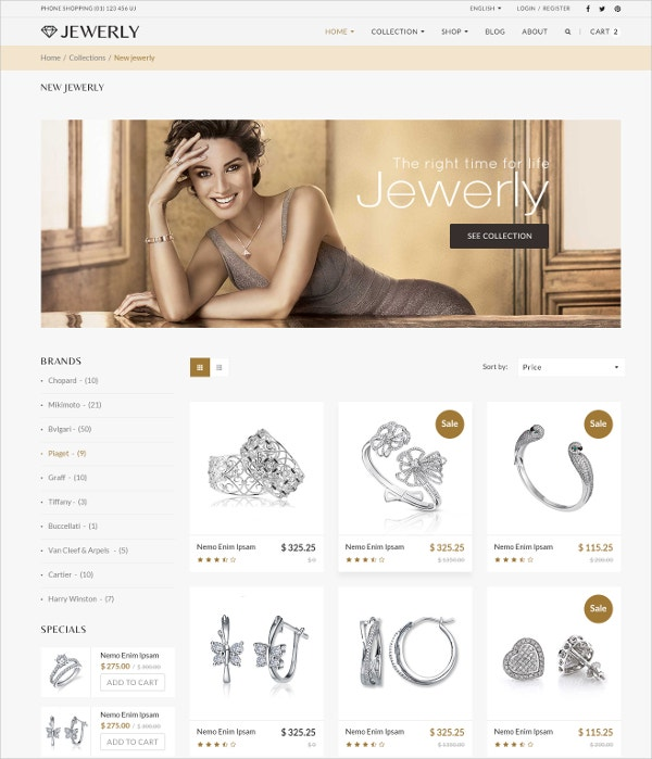 Minimal Jewelry WordPress HTML5 Theme $59