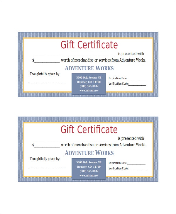 Microsoft word certificate template 5 free word documents adventure works word gift certificate template yadclub Image collections
