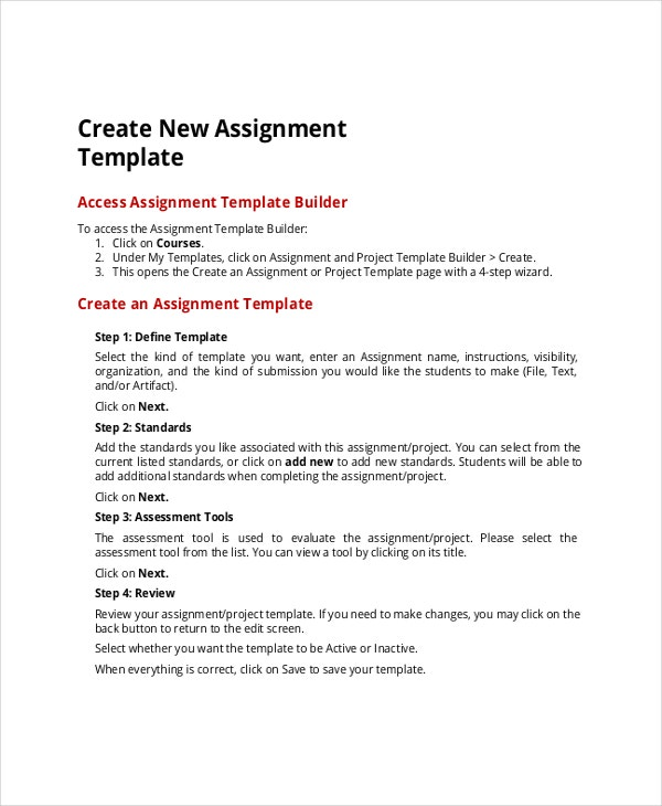 new project assignmenttemplate