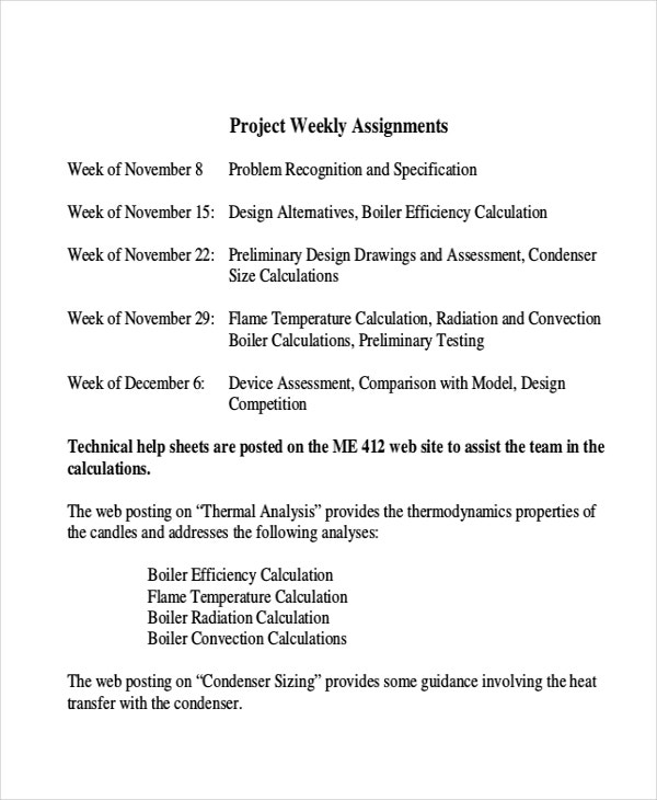 project weekly assignments