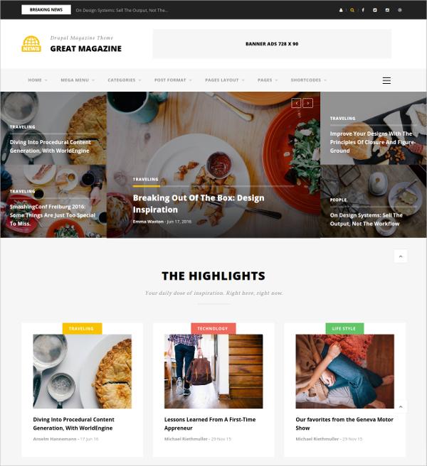 Responsive Magazine & News Drupal Theme $48