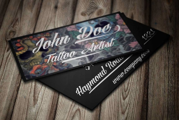 21 folded business cards free psd ai vector eps for Tattoo business card templates