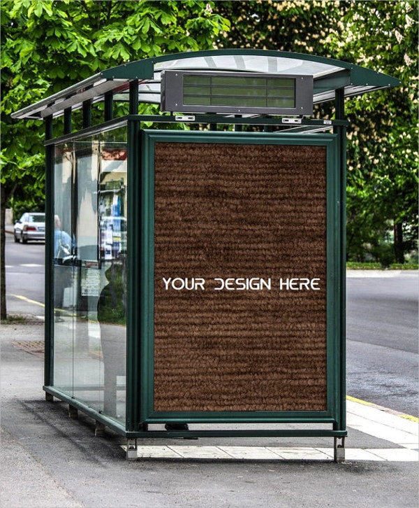 Outdoor Bus Stand Advertising Poster Mockup