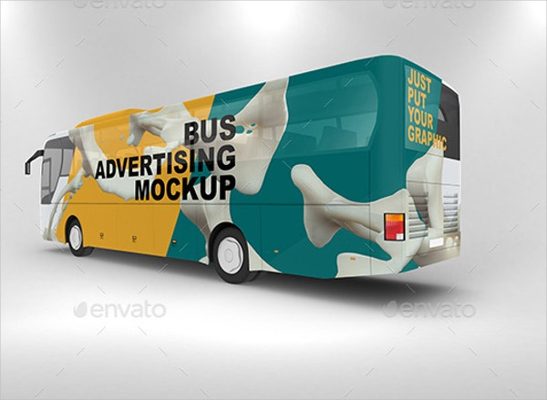 editable bus advertising mockup template