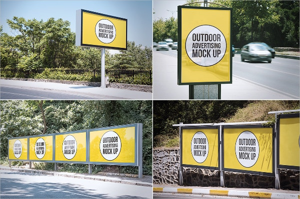 city outdoor advertising mock up